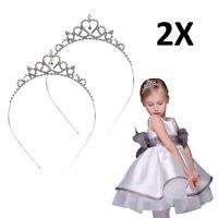 2x Rhinestone Princess Crown Tiara Headband Hair Band Wedding Prom For Kid Girl