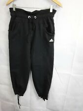 Ladies Crop Joggers Adidas Black Drawstring Size 10