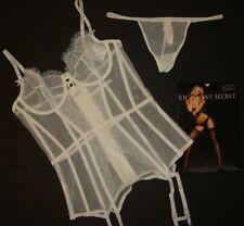 Victoria's Secret 36B garter slip/corset+thong BRIDAL white crystallized RARE!!!
