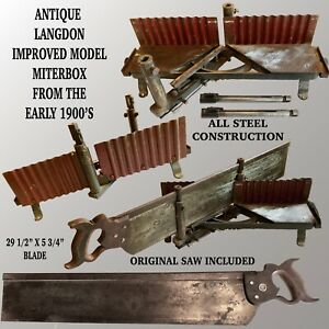 ANTIQUE LANGDON IMPROVED MODEL MITER BOX FROM THE EARLY 1900'S WITH ORIGINAL SAW