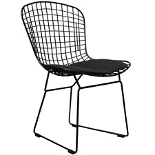Harry Bertoia style Side Chair - Chrome, Black, or White wire with seat cushion