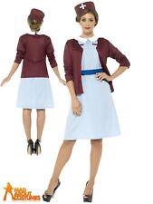 Women's Vintage Nurse Costume - Womens Ladies Fancy Dress 1940s Outfit Adults