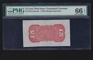 US 15c Fractional Currency Wide Margin Specimen FR 1273-5sp PMG 66EPQ (001)