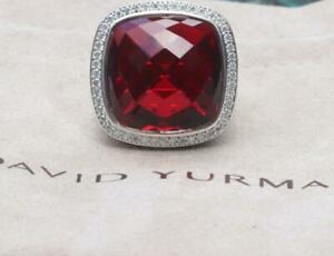 David Yurman Sterling Silver 20mm Albion Ring Garnet & Diamonds size 8