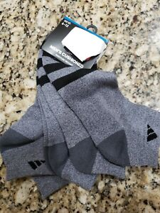 ADIDAS MEN'S GRAY BLACK STRIPES LOW CUT CLASSIC CUSHIONED SOCKS 3 PAIRS $14 NIP