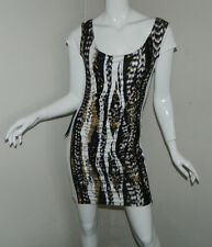 New Women BeBe Multi-Color Cap Sleeve Cocktail Party Pencil Dress Size M NWT