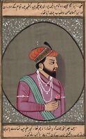 Mughal Shah Jahan Portrait Art Handmade Moghul Indian Emperor Miniature Painting