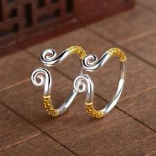 Silver/Gold Color Couple Ring Xiangyun Carved Flower Charm Ring Men and Women