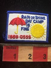 Red Umbrella & Sun RAIN OR SHINE DAY CAMP Girl Scout Singing Sands Patch S76H