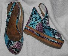 High Heel Wedges / Peep Toe / Sandalette - 37 -blau - Kork - oft & gern getragen