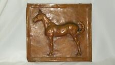 Vintage 3D Copper Equestrian Thoroughbred Racing Horse In Relief Plaque Art
