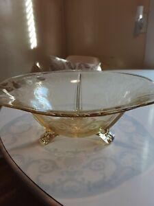 On Sale Sunshine Yellow Thumbprint Depression Glass Serving Bowl Decorative Bowl