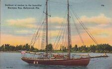 Postcard Sailboat at Anchor Biscayne Bay Hollywood FL