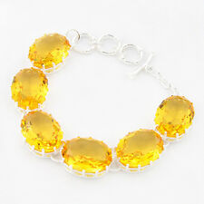 Awesome Women Jewelry Oval Shiny Golden Citrine Gems Silver Charm Bracelets
