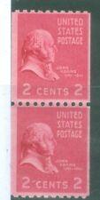 US 806 JOHN ADAMS VERTICAL  PAIR OF STAMPS 2c ISSUED 1938