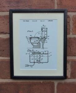 USA Patent Drawing BATHROOM TOILET LOO CISTERN FLUSH MOUNTED PRINT 1995 Gift