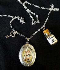 Alice Wonderland DRINK ME Argento Medaglione Collana Ciondolo Bottiglia Chiave Steampunk