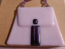 Pink Purple Glass Xmas Hanging Ornament Glass Beads Handle EUC Theresa Darrin
