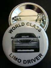 """LIMO DRIVER Silver Town Car 1-1/4"""" Pinback Buttons NEW"""