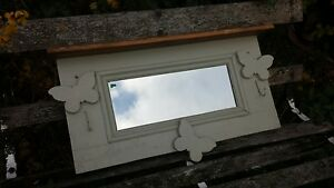 VICTORIAN PINE WALL MIRROR  WITH BUTTERFLY DECORATION -- FRENCH GREY