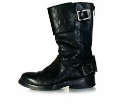 $750 Sartore Boots 35 Black Leather Moto Biker Boots Tall Ankle  *LOVELY* SZ 5