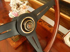 "Jaguar E-Type XKE  Wood Steering Wheel 61 - 75  Gold Horn Push  15"" New"