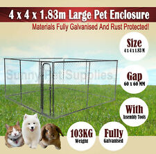 4 x 4 x 1.83m Large Pet Dog Enclosure Run Kennel Chain Link Fence Rust Proof BNE
