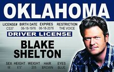 Blake Shelton Country Music Star of THE VOICE  Drivers License