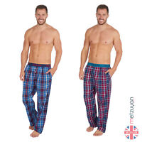 Men's Woven Checked Pyjama PJ Bottoms Lounge Bed Pants Trousers Twill S- XL