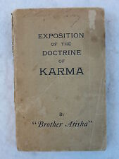 """""""Brother Atisha"""" EXPOSITION ON THE DOCTRINE OF KARMA 1910 COL. CROMWELL STACEY"""