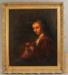 Antique Old Master REMBRANDT VAN RIJN Portrait Painting Woman w/ Pink MET Copy