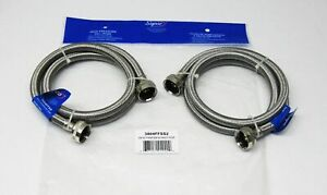 For Amana Washer 4 Foot Stainless Hot Cold Fill Hose Set # LZ4953106PAAM360