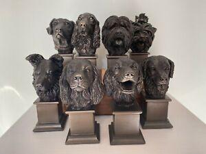 Multiple Option Cast Bronze Dog Bust Statue Trophy Present Memorial Decoration