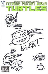Kevin Eastman Curnow Santolouco Waltz signed sketched TMNT 2018 SDCC comic book