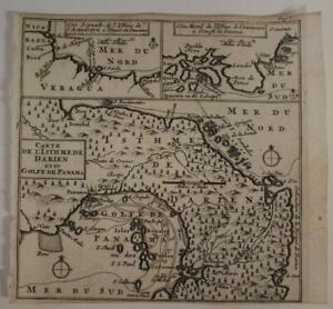PANAMA 1712 WILLIAM DAMPIER UNUSUAL ANTIQUE ORIIGNAL COPPER ENGRAVED MAP