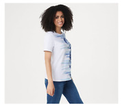 Denim & Co. Printed Short-Sleeve Top Blue, Size 1X, A354142