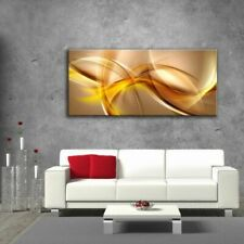 Glass Picture Toughened Wall Art Unique Abstract Waves Yellow Brown Any Size