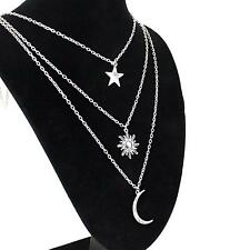 Silver Three Layers Moon Sun Star Pendant Necklace Body Chain Gift Party PP1