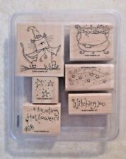 STAMPIN' UP - HAUNTING HALLOWEEN - WOOD MOUNTED RUBBER STAMP  SET - GENTLY USED