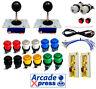 Kit Joystick Arcade x2 Zippy Bola Negros 12 botones Bartop Usb 2 players Encoder