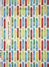 Crayola Crayon Fabric ~ 100% Cotton By The Yard ~  QT Ready Set Color White