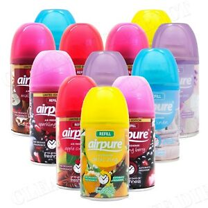 12 X AIRPURE AIR FRESHNER AUTOMATIC SPRAY REFILLS MIXED SCENTS 250 ML FREE POST