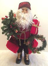 "Vintage TALL Ceramic Santa Claus Holding Present, Tree, & Wreath 20 1/4"" robe"