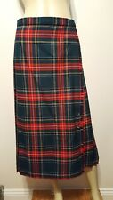 Vintage Deans of Scotland Plaid Kilt Skirt Sz 12 Pleated Green Red Fringe Pin