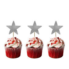 Christmas Star Cupcake Toppers -Pack of 10-Glittery Silver Xmas Star Cake Topper