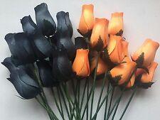24 Orange and Black Wooden Roses Wholesale Halloween Flowers Home Decor Wedding