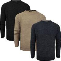 Mens Brave Soul Knitted V Neck Jumpers Fishermans Long Sleeve Wool Mix Knit