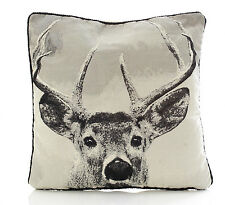 """Stag Tapestry 18"""" Cushion Cover Photographic Print Black Grey"""