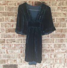 Betsey Johnson Silk Velvet Womens Teal Bell Sleeve Vtg Flutter Sash Dress S