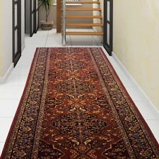 Hochwertiger Teppichläufer Läufer 100% Schurwolle Klassisch Orientalisch Rot